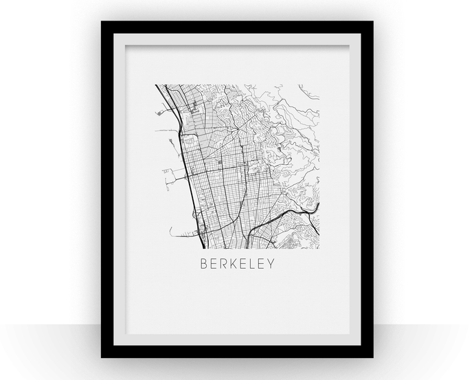 Berkeley Map Black and White Print - california Black and White Map Print