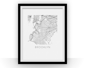 Brooklyn Map Black and White Print - new york Black and White Map Print