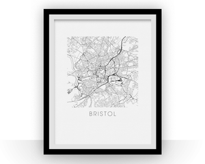 Bristol Map Black and White Print - england Black and White Map Print