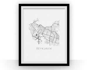 Reykjavik Map Black and White Print - iceland Black and White Map Print