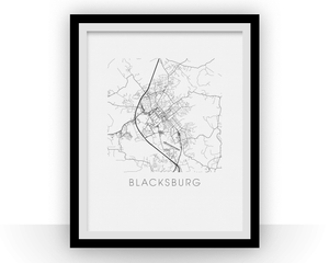 Blacksburg Map Black and White Print - virginia Black and White Map Print
