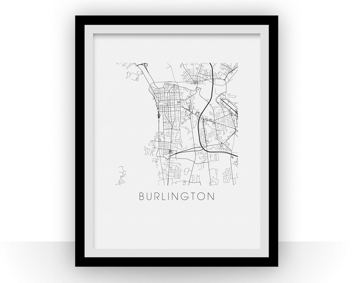 Burlington Map Black and White Print - Vermont Black and White Map Print