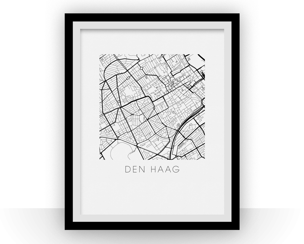 The Hague Map Black and White Print - netherlands Black and White Map Print