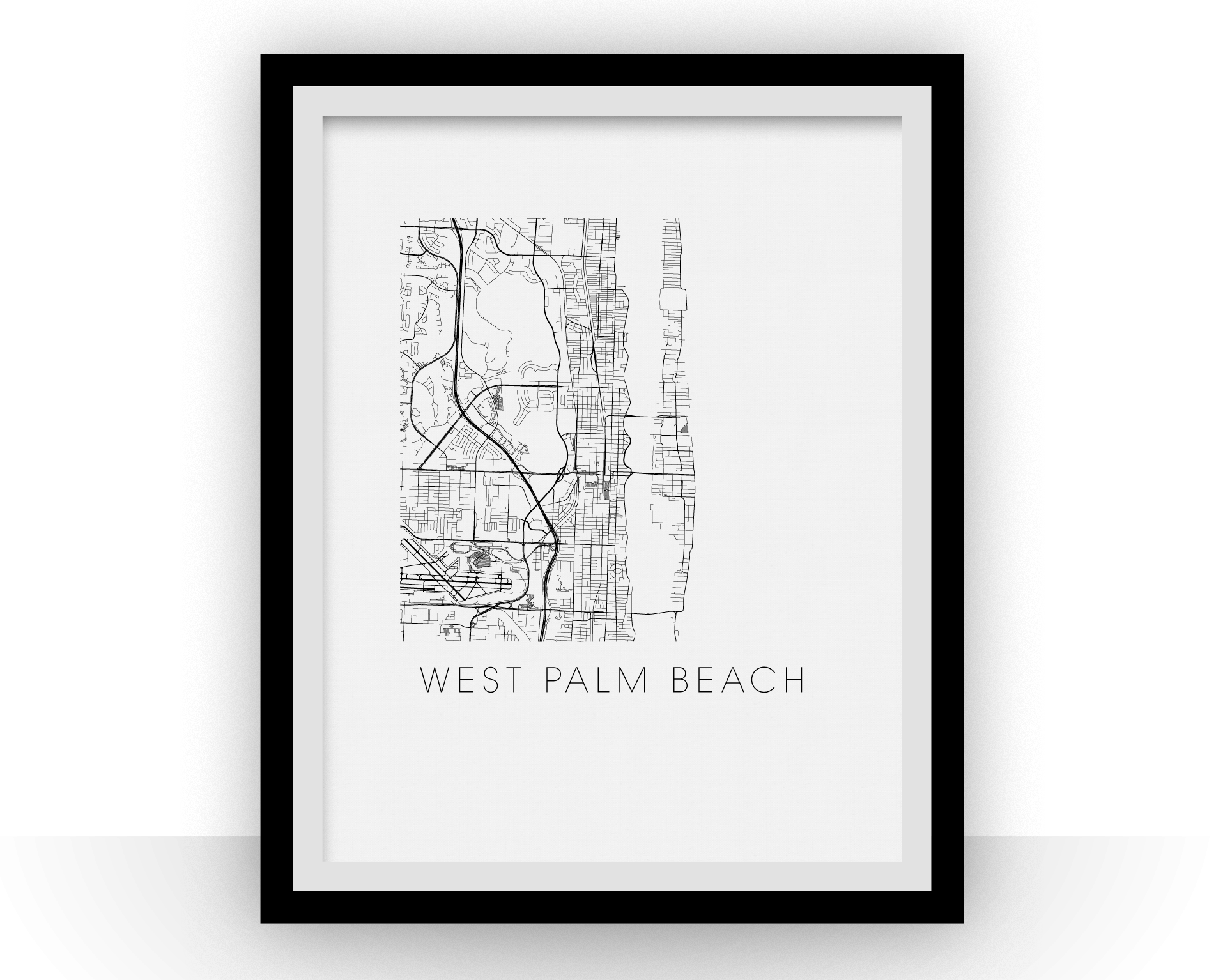 West Palm Beach Map Black And White Print Florida Black And White