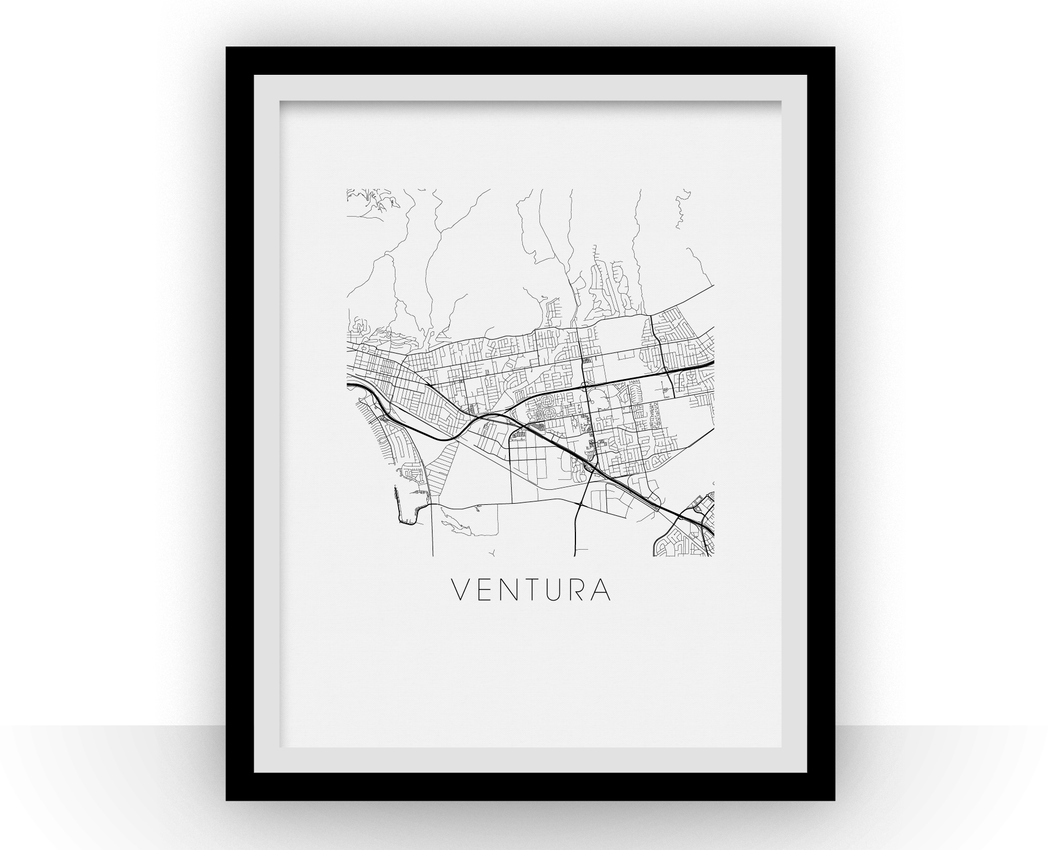 Ventura Map Black and White Print - california Black and White Map Print