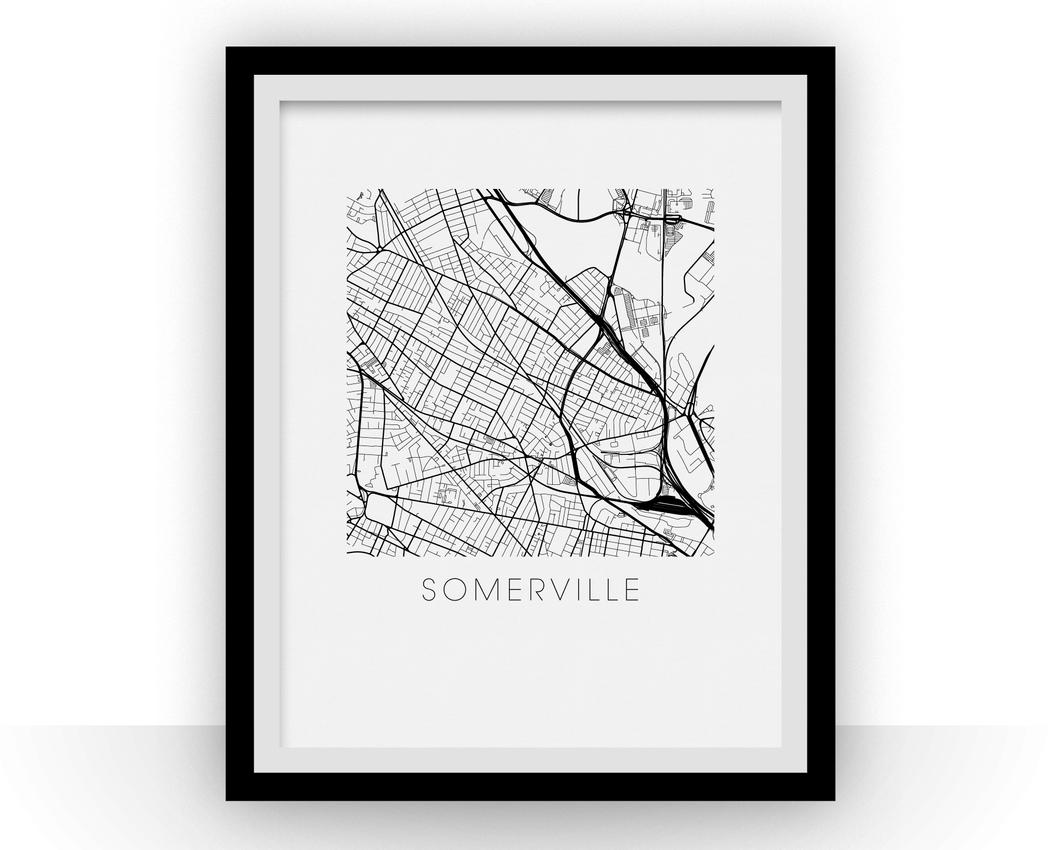 Somerville Map Black and White Print - massachusetts Black and White Map Print