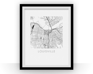Louisville Map Black and White Print - Kentucky Black and White Map Print