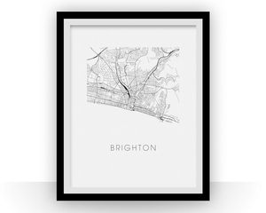 Brighton Map Black and White Print - england Black and White Map Print