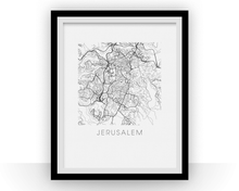 Jerusalem Map Black and White Print - israel Black and White Map Print
