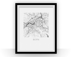 Bern Map Black and White Print - switzerland Black and White Map Print