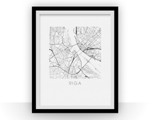 Riga Map Black and White Print - latvia Black and White Map Print