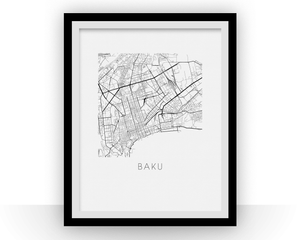 Baku Map Black and White Print - azerbaijan Black and White Map Print