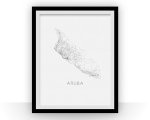 Aruba Map Black and White Print - aruba Black and White Map Print