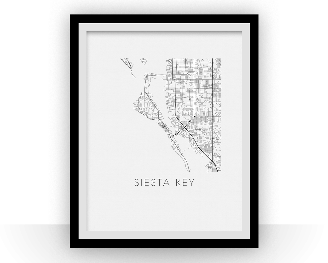 Siesta Key Map Black and White Print - florida Black and White Map Print