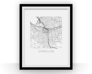 Syracuse Map Black and White Print - New York Black and White Map Print