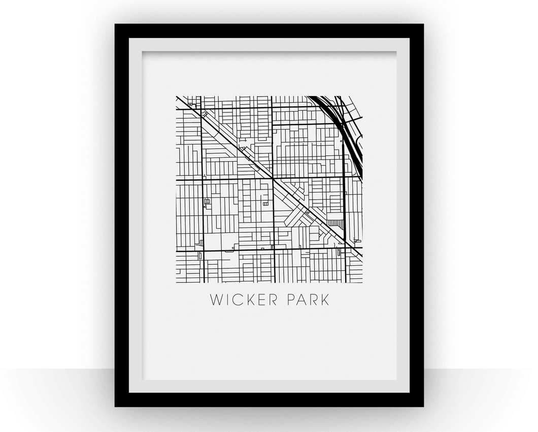 Wicker Park Map Black and White Print - illinois Black and White Map Print