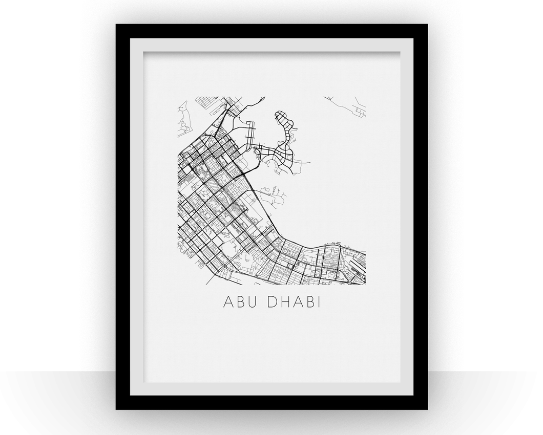 Abu Dhabi Map Black and White Print - uae Black and White Map Print
