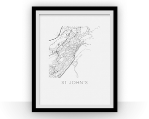 St Johns Map Black and White Print - nl Black and White Map Print