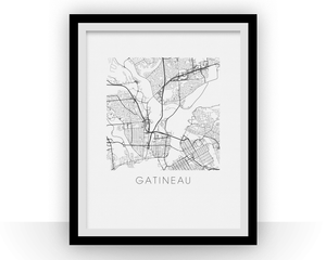 Gatineau Map Black and White Print - Quebec Black and White Map Print