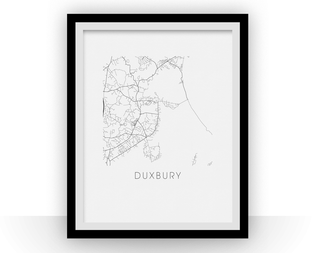 Duxbury Map Black and White Print - massachusetts Black and White Map Print