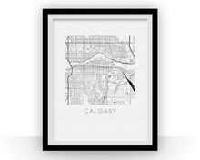 Calgary Map Black and White Print - alberta Black and White Map Print