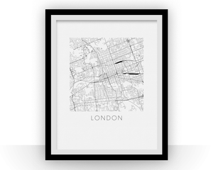 London Ontario Map Black and White Print - Ontario Black and White Map Print