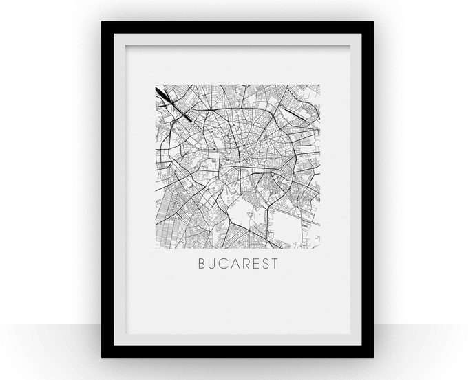 Bucharest Map Black and White Print - romania Black and White Map Print