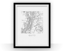 Quito Map Black and White Print - ecuador Black and White Map Print