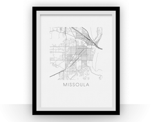 Missoula Map Black and White Print - Montana Black and White Map Print