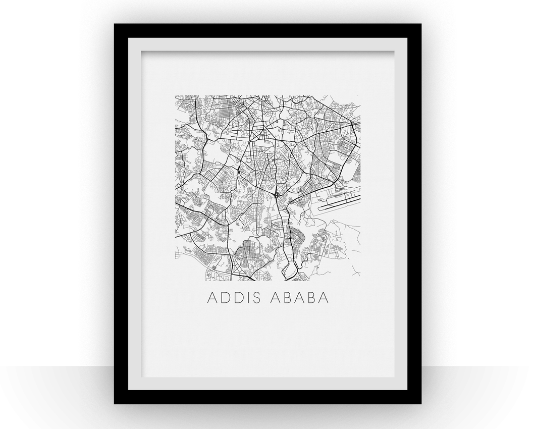 Addis Ababa Map Black and White Print - ethiopia Black and White Map Print