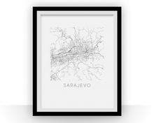 Sarajevo Map Black and White Print - bosnia and herzegovina Black and White Map Print