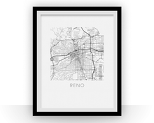 Reno Map Black and White Print - nevada Black and White Map Print