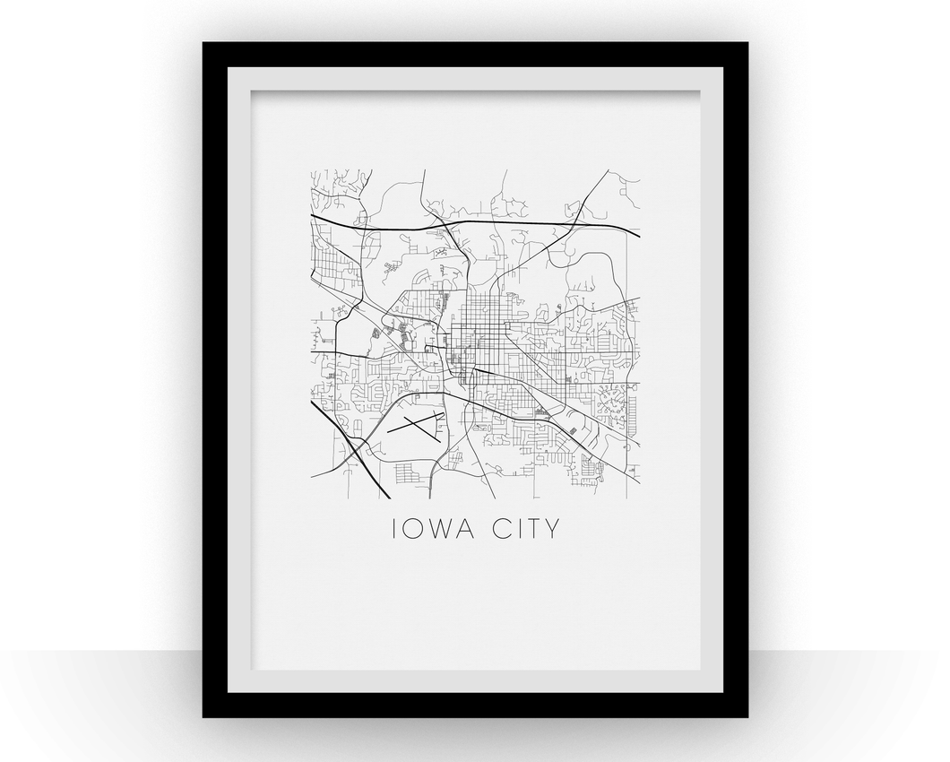 Iowa City Map Black and White Print - iowa Black and White Map Print
