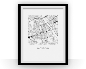 Warsaw Map Black and White Print - poland Black and White Map Print