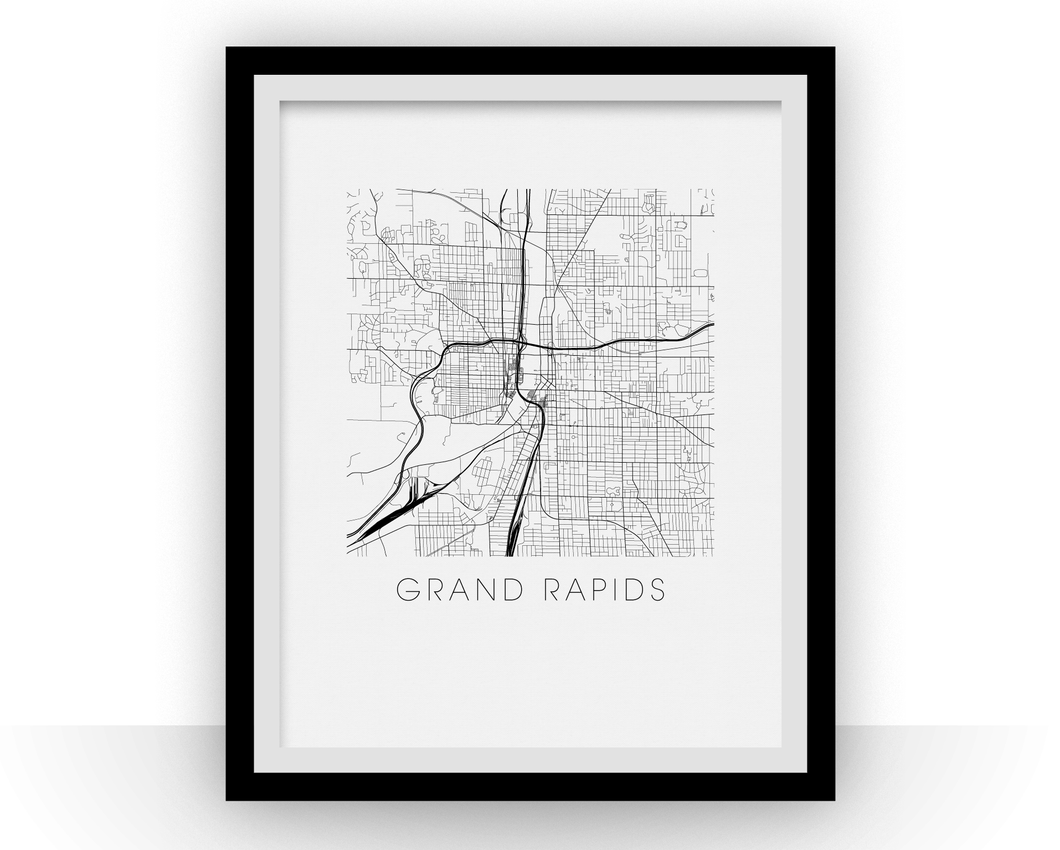 Grand Rapids Map Black and White Print - michigan Black and White Map Print