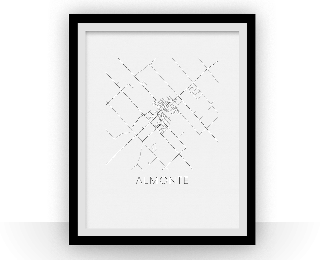 Almonte Map Black and White Print - ontario Black and White Map Print