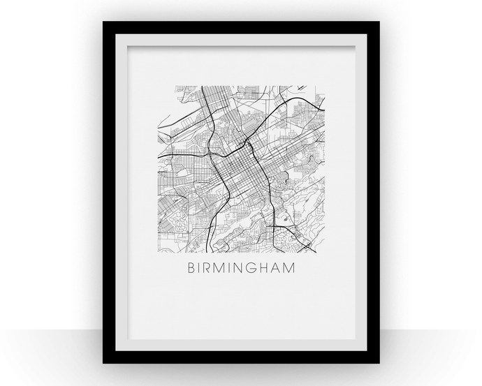 Birmingham Alabama Map Print