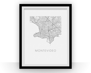 Montevideo Map Black and White Print - uruguay Black and White Map Print