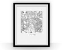 Tehran Map Black and White Print - iran Black and White Map Print