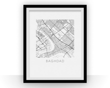 Baghdad Map Black and White Print - iraq Black and White Map Print