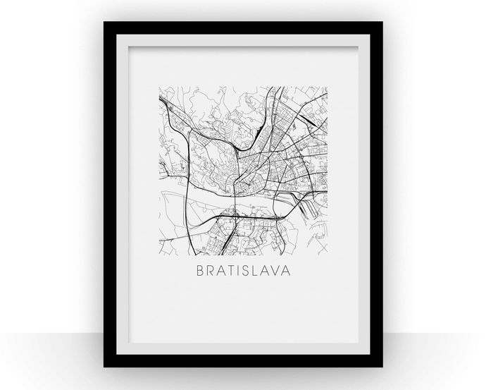 Bratislava Map Black and White Print - slovakia Black and White Map Print