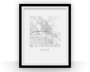 Boise Map Black and White Print - idaho Black and White Map Print