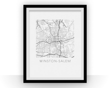 Winston-Salem Map Black and White Print - North Carolina Black and White Map Print