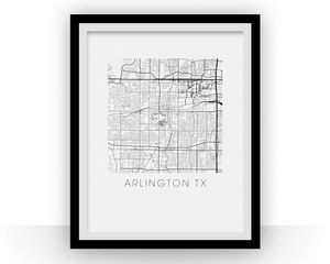 Arlington Texas Map Print