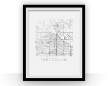 Fort Collins Map Black and White Print - Colorado Black and White Map Print