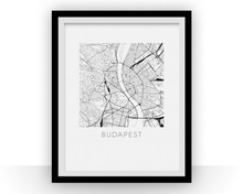 Budapest Map Black and White Print - hungary Black and White Map Print