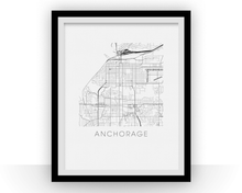 Anchorage Map Black and White Print - alaska Black and White Map Print