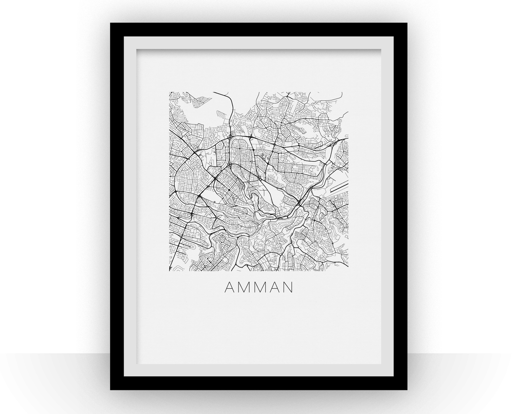 Amman Map Black and White Print - jordan Black and White Map Print