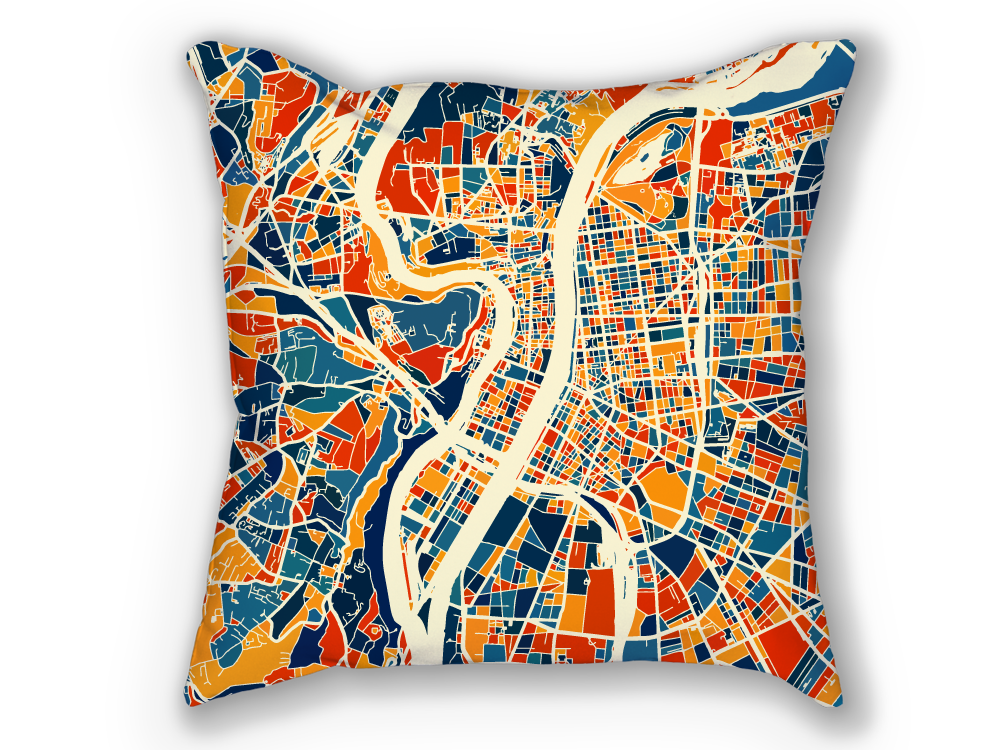 Lyon Map Pillow - France Map Pillow 18x18