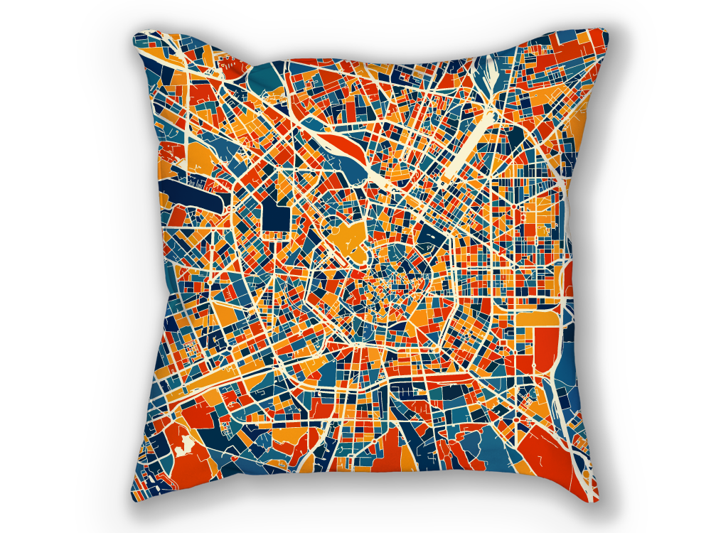 Milan Map Pillow - Italy Map Pillow 18x18
